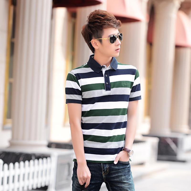 2015 beads cotton male turn-down collar stripe solid polo shirts slim short-sleeve polo shirt male 8(China (Mainland))