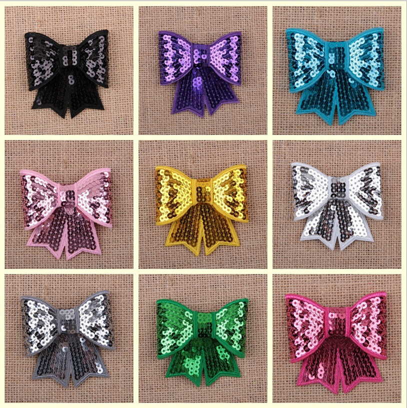 20pcs/lot Sequin Grosgrain Hair Bows,Baby Hairbows Bowknot girl boutique bows without clips children hair accessories(China (Mainland))