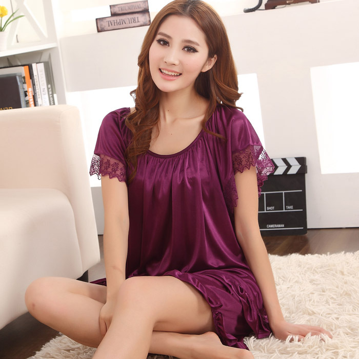 2015 sales of font b hot b font sexy silk pajamas women round neck lace summer