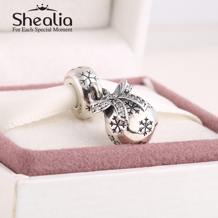 2014 New pave cz bowknot christmas snowball dangle charms pendant 925 sterling silver charm fits pandora style charm bracelets