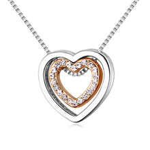High Quality New Design Double Heart Necklaces Pendants Crystals from Swarovski Elements Gifts For Valentine's Day(China (Mainland))