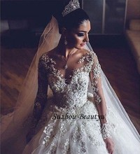 Luxury Lace Long Sleeve Wedding Dress Vestido De Noiva A Line V Neck Beaded Applique Tulle Court Train Women Dress Bridal Gown(China (Mainland))