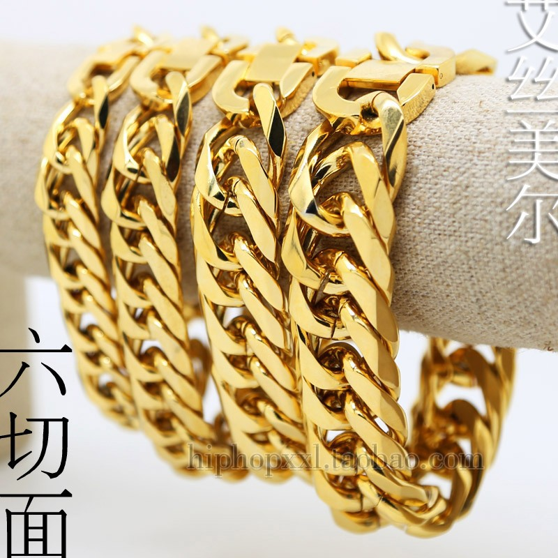 Hiphop golden bracelets bangles High Quality 18K Gold plated 21cm long Cuban Link chunky pulseras chain