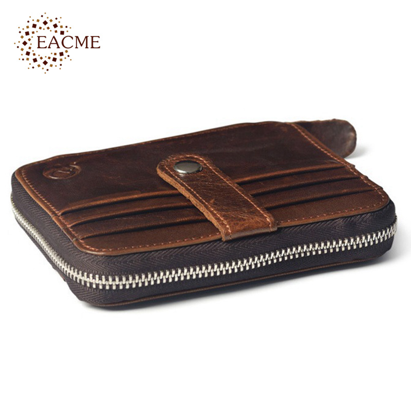 Vintage Mini Zipper Wallet Men Real Leather 12 Pcs Credit Card Case 2 Folded Cash Purse Short Thin Wallets Square Male Carteras(China (Mainland))