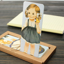 30pcs/pack Cartoon doll girls paper bookmarks for books Cute rectangular vintage book mark office school supplies OL009(China (Mainland))