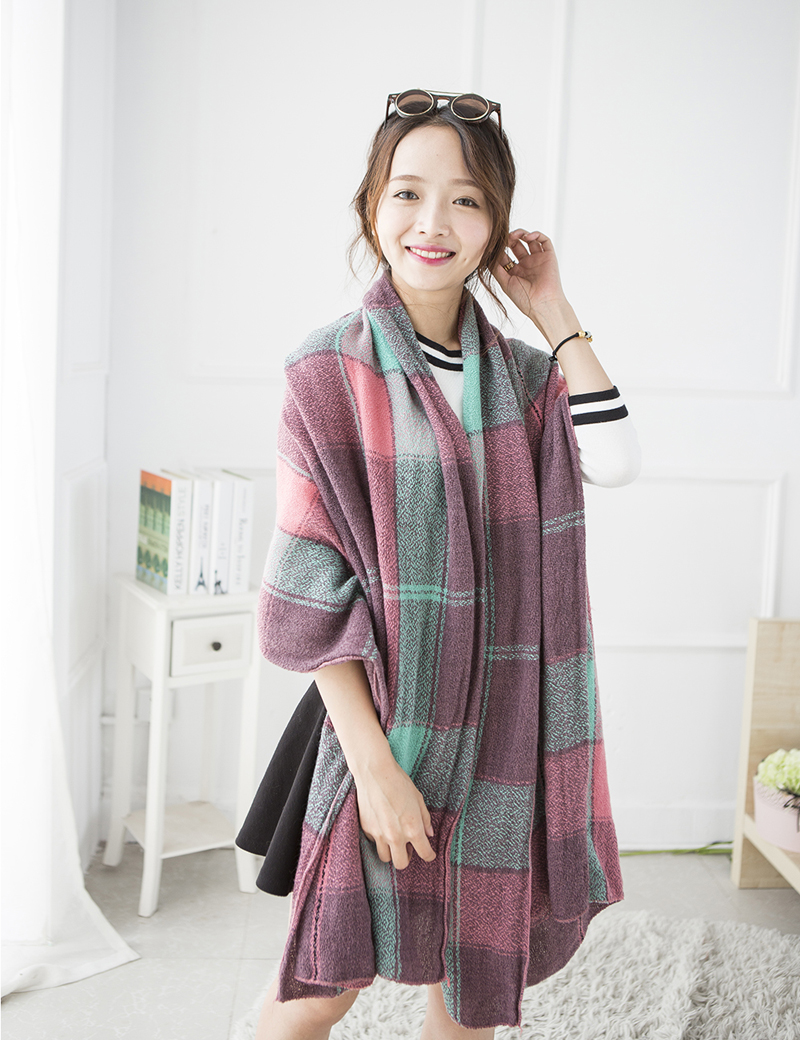 Autumn Winter Plaid Cashmere Scarves Brand Women Pashmina Large Shawls and Scarves Soft Long Knitted font