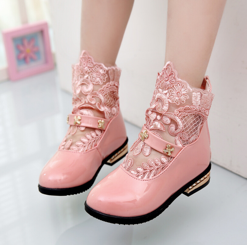2016 Autumn Winter Fashion Pink White Black Size21-36Children Boots Kids Shoes/Boots Girls Princess Leather Shoes(China (Mainland))