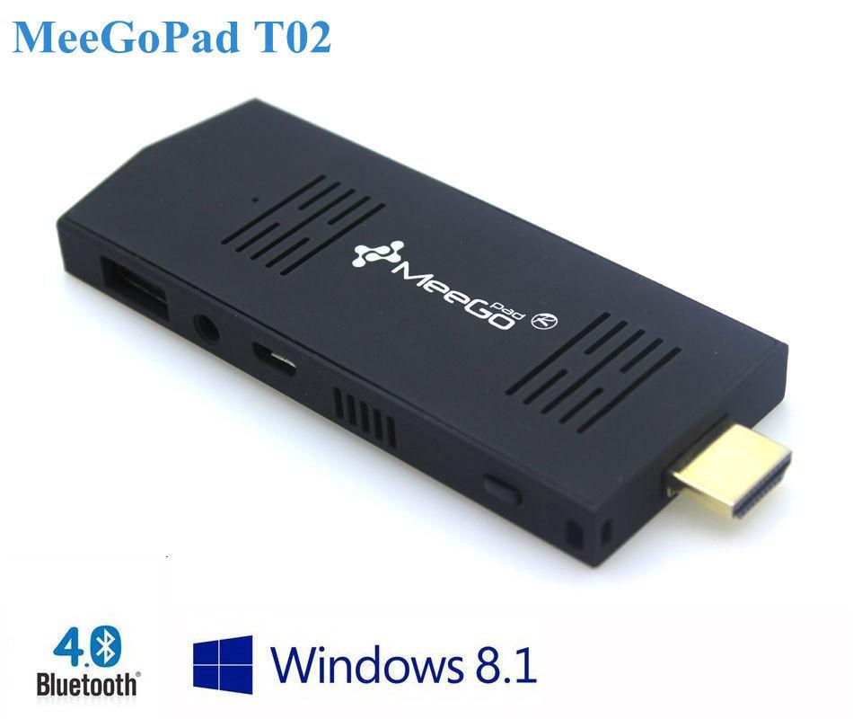 MeeGoPad T02 Windows 8.1 TV Stick Quad-Core 2GB RAM 32GB ROM HDMI XBMC Bluetooth MINI PC Free Tracking(China (Mainland))