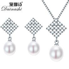 Dainashi приятно пресноводный жемчуг ювелирные наборы стерлингового серебра 925 кулон ожерелье серьги кольцо для свадебных украшений наборы(China (Mainland))