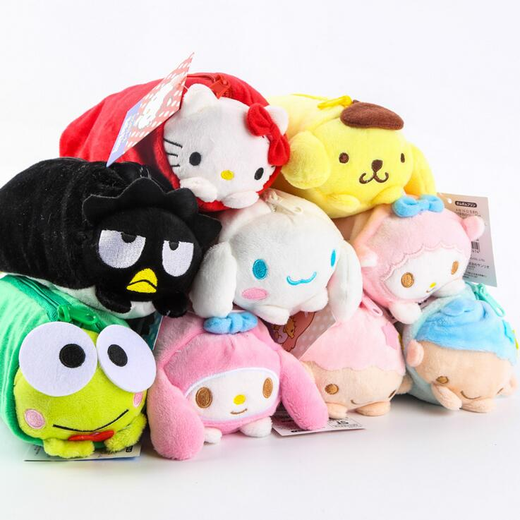 49% 1pcs Sanrio Gemini Kitty Melody Big Eye Frog Cartoon plush Pencil bag children student toys plush 9colors 20*7cm(China (Mainland))