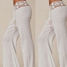 Details about  New Womens Summer Lace Casual Stretch Pants Wide Leg Long Loose Palazzo Trousers(China (Mainland))