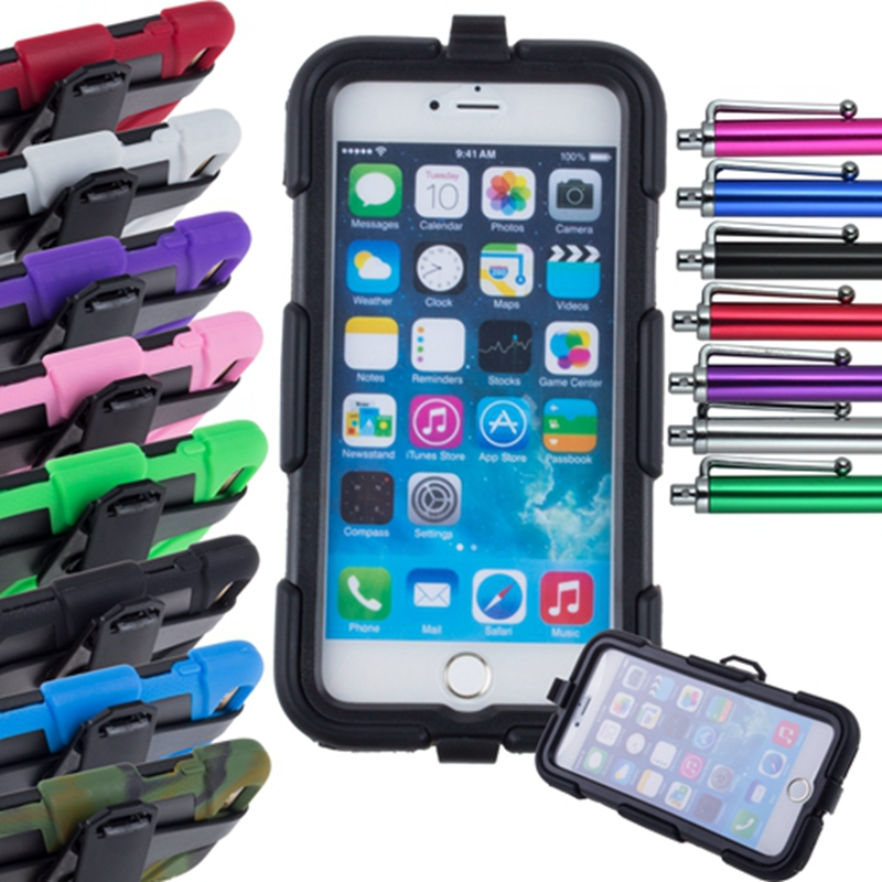 Shockproof Armor Military Extreme Rugged Hybrid Cover With Belt Clip Heavy Duty Case For iPhone 6 Plus 5.5 inch + Stylus Pen(China (Mainland))