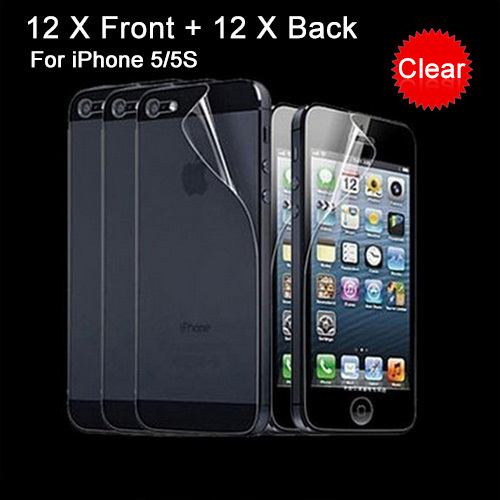 24 Pcs = 12 Pcs Front + 12 Pcs Back Full body Transparent Clear LCD Screen Protector Film for Apple iPhone 5 5S 5G HOt sale(China (Mainland))