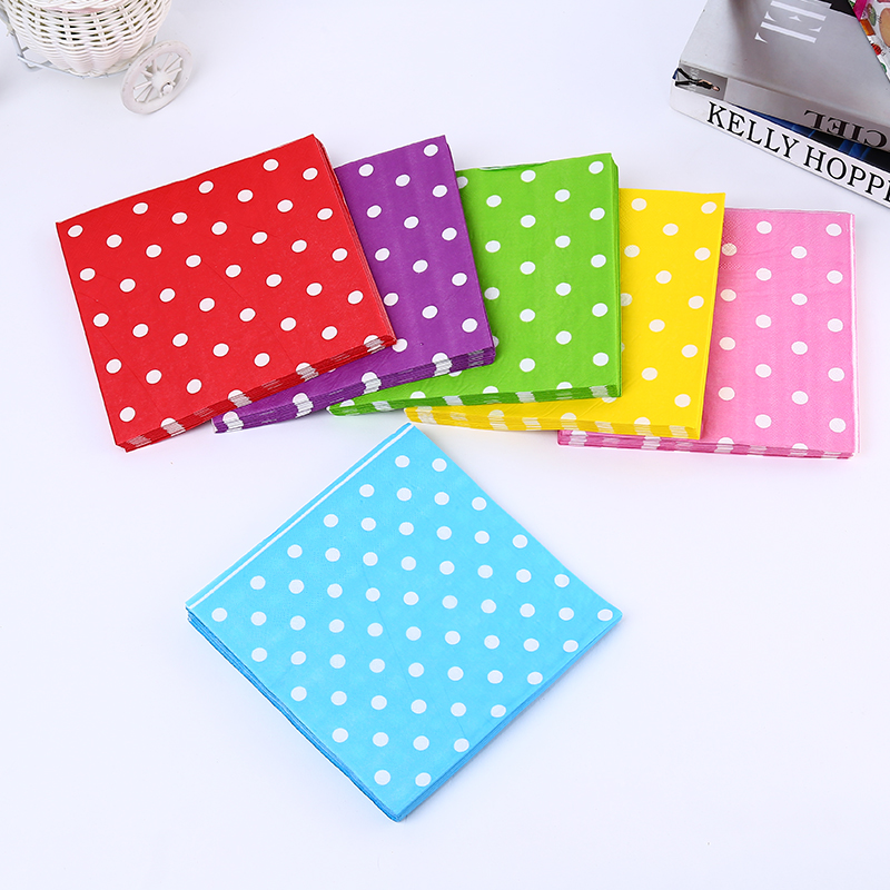 Six Colors Designs Simple Popular Dinner and Kids Birthday Party Decoration Supplies Wedding decor Polka Dot Paper Napkins(China (Mainland))