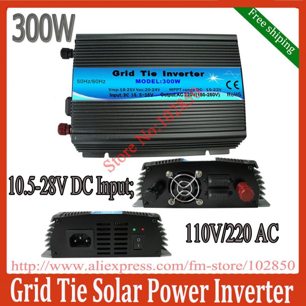 300w micro MPPT solar inverter,10.8-28V DC input,120V /230VAC output,solar grid tie inverter,pure sine wave inverter(China (Mainland))