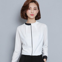Buy White Black Pathwork Shirt Women Long Sleeve Tops 2016 Elegant OL Chiffon Slim Shirts Work Wear Office Blouse Blusas Feminina for $17.49 in AliExpress store