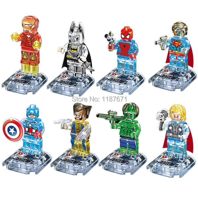 8pcs/lot Marvel Avengers Super Hero Minifigures Building Blocks Sets figures Toys Bricks Compatible Le go playmobil scale models(China (Mainland))