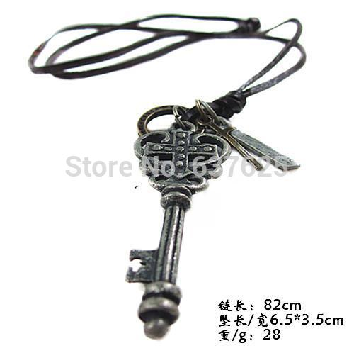 Free Shipping Punk Vintage Style Cross Key Pendant Adjustable Genuine Leather Unisex Mens Womens Necklace Chainroxi(China (Mainland))