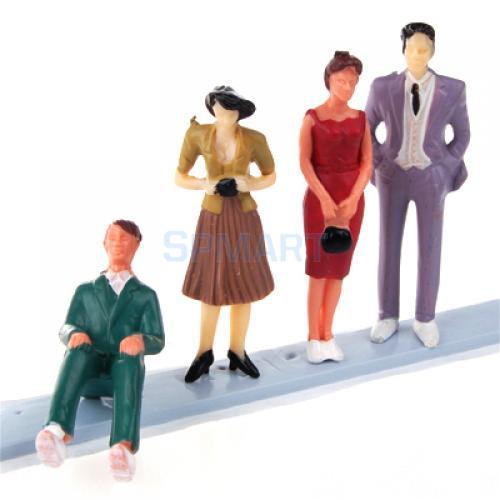 Free Shipping 4pcs Painted Model Train People Figures Scale G (1 to 30) P30-4(China (Mainland))