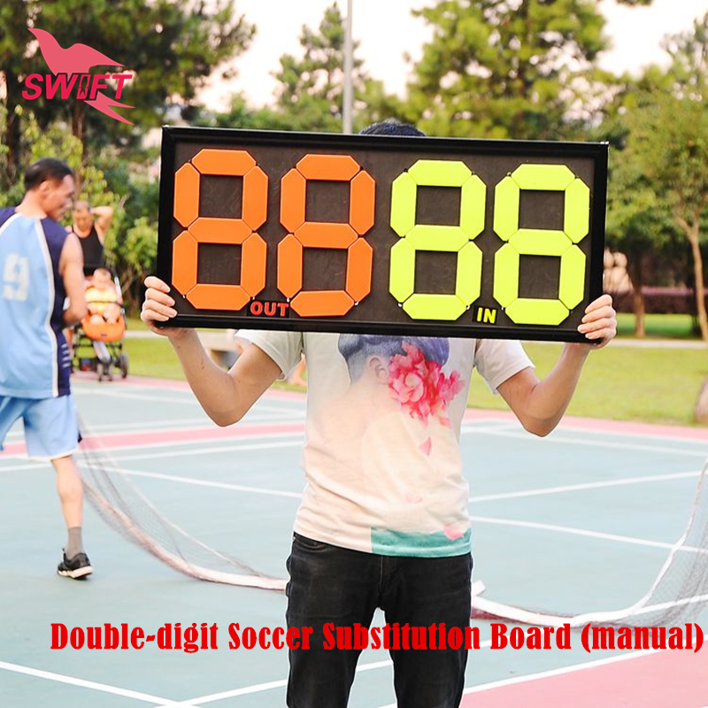 Professional Soccer Referee Equipment Manual Adjust Double-Digit Soccer Substitution Board 2 Side PVC Football Board Sport Plate(China (Mainland))