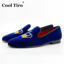 COOL TIRO Blue Velvet Mens flats loafers casual Imperial crown Dress Wedding Handmade Luxury Smoking Slip-on Red bottom shoes(China (Mainland))