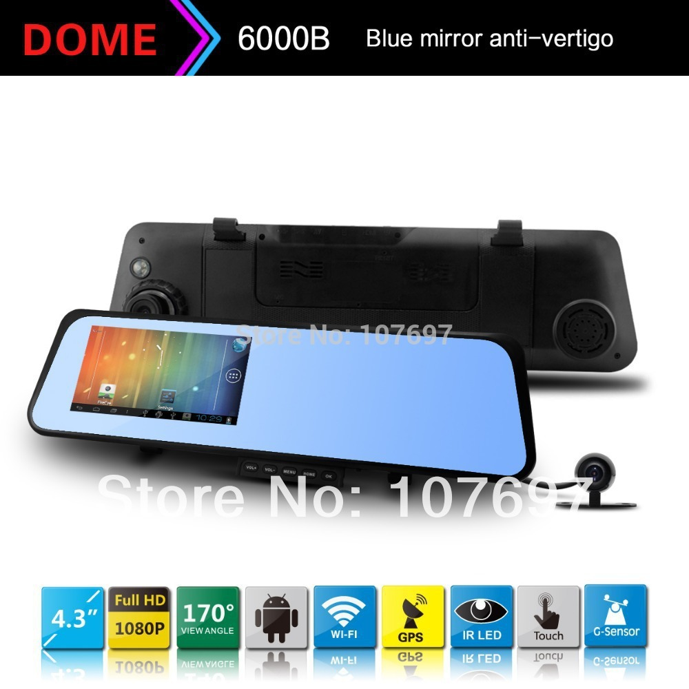 """2014 New Car Camera 6000B Android 4.0system Car Rearview Mirror 1080P 30fps Touch screen 4.3"""" LCD with G-sensor Night Vision GPS(China (Mainland))"""