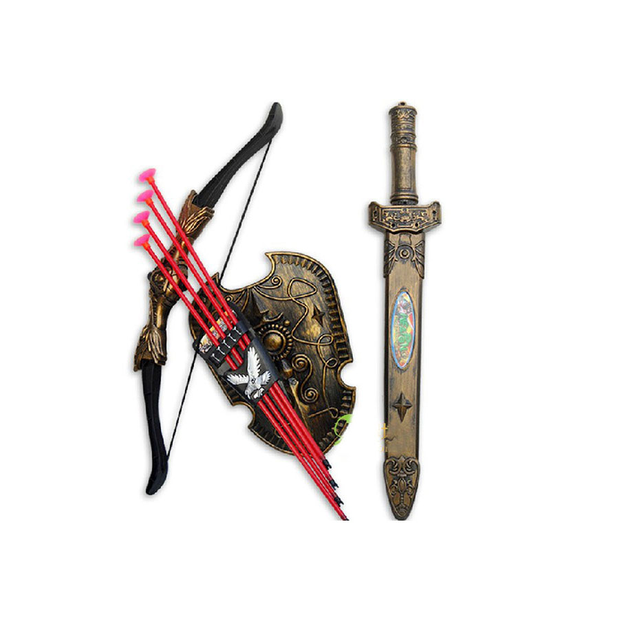 Lowest Price Children Toys Swords Shield Bow&Arrow Double-edged Sword Shield Sucker Simulation Archery Plastic Swords Toy Set C(China (Mainland))