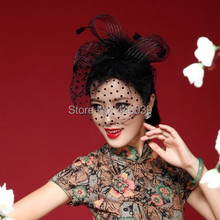 FW12 Beautiful Black/White/Red/Pink/Purple  Birdcage Bridal Flower Feathers Fascinator Bride Wedding Hats Face Veils(China (Mainland))