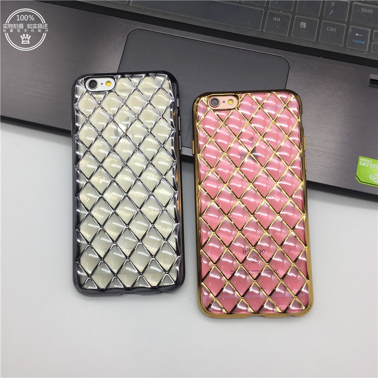 Luxury Crystal Plating Electroplating TPU Soft Silicon Diamond grid Phone Case For iPhone 6 6s 6Plus 6sPlus Cover bag(China (Mainland))