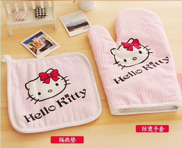 2pcs/set Hello Kitty Kitchen Cooking Tools Potholder Oven Mitts Gloves Kitchen Accessories Placemat(China (Mainland))