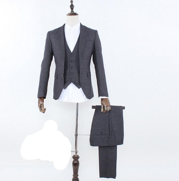 men's Suit Wedding Dress Suit business casual slim three piece suit occupation costumes two button mens suits (jacket+pants+vst)