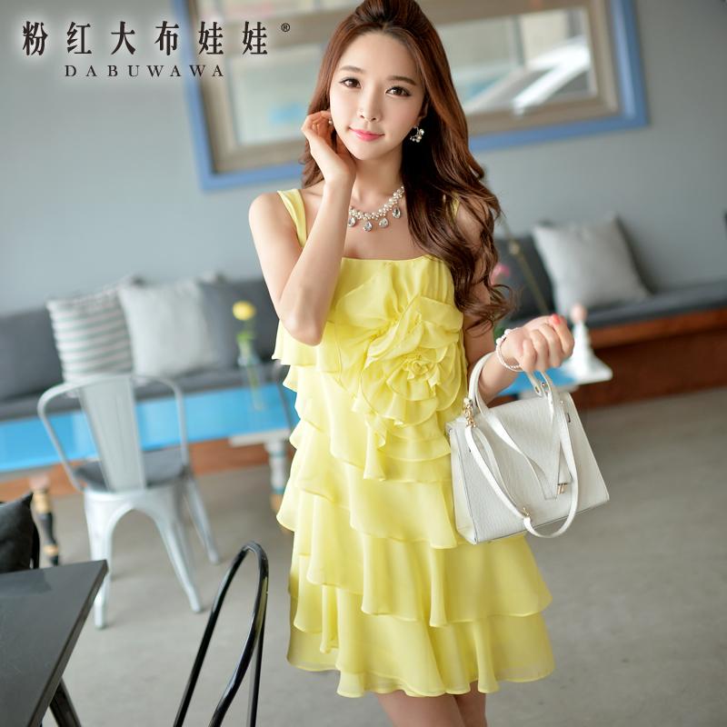 Summer dress pink doll 2015 new summer dress sleeveless chiffon dress female