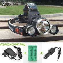6000LM CREE XML T6 + 2R5 3LED phares, Phare, De pêche, Chef lampe de poche + 18650 batterie + voiture ue / US / AU / UK Plug chargeur(China (Mainland))