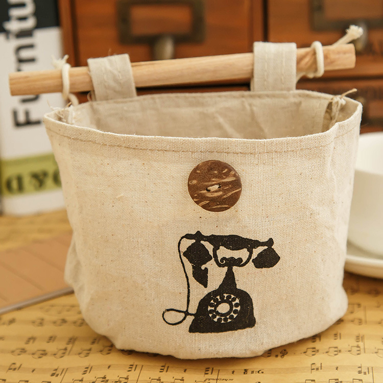 2016 Can be hung storage box Wardrobe Cloth Wall pouch Wall bedside Nostalgia cotton storage bag(China (Mainland))