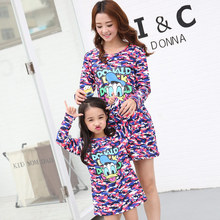 Family Set Mother Daughter Dresses Women Girl Spring Fall Dresses Family Style Clothing Parent-Child Clothes Camo Printing CY12