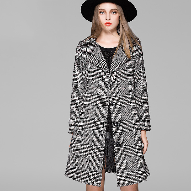 2015 Fall Winter New Brand Design Europe High-end Women Plaid Wool Coat Plus size Thick Overcoat Luxury women casual clothingОдежда и ак�е��уары<br><br><br>Aliexpress