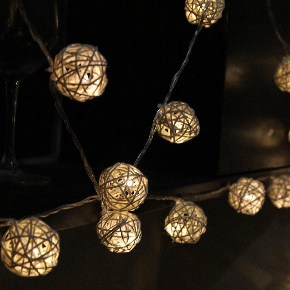 QUROSY Rattan Balls Globe Outdoor String Light Garden 40 Led Decoration(Warm White)(China (Mainland))