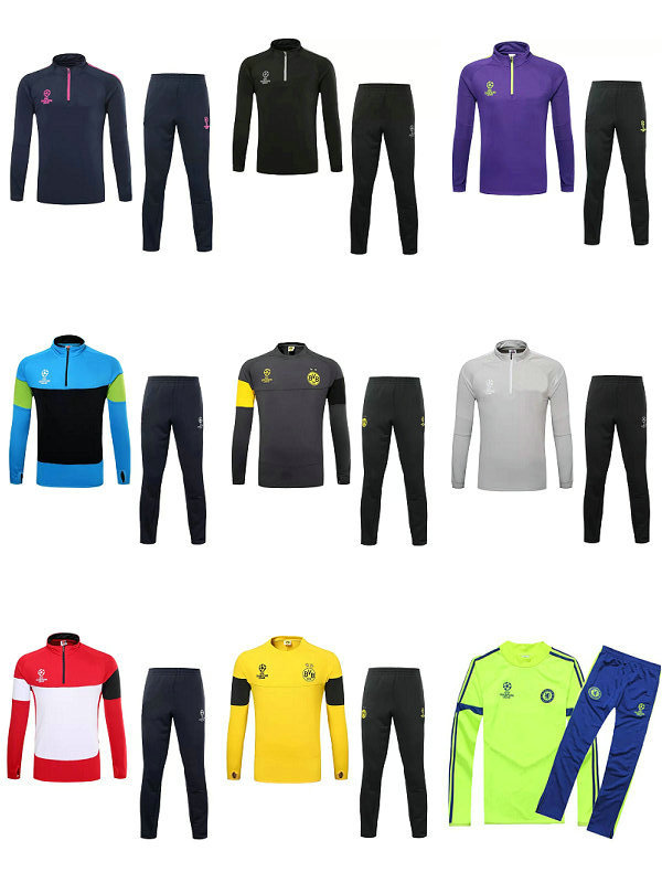 10 club soccer training suit tracksuit survetement football Spain Argentina Chelsea long sleeved shirt slim pants free shipping(China (Mainland))