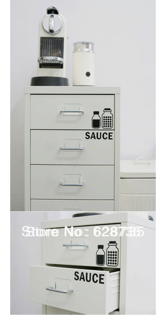 Kitchen cutlery cabinet label stickers waterproof vinyl - Labels for kitchen cabinets ...