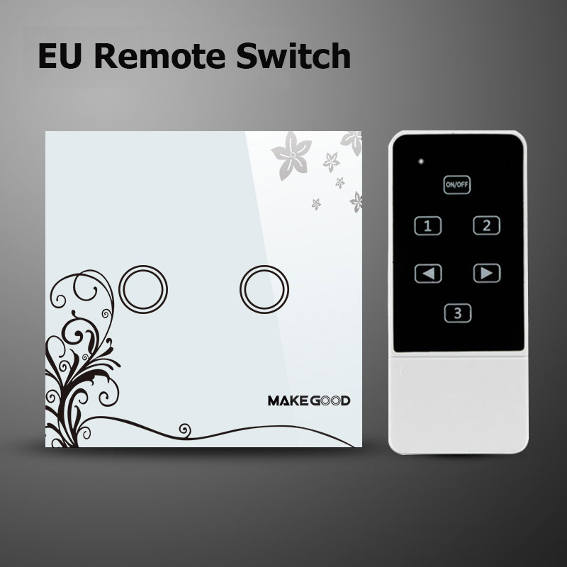Makegood EU Standard Touch Light Switch,Glass Panel Electrical Light Switches, 2 Gang 2 Way Wireless Remote Control Switches(China (Mainland))