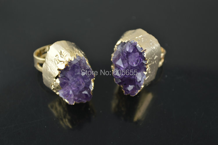 18k Gold plating color Natural Brazil Amethyst big size stone rings Fashion man's jewelry 5pc per lot(China (Mainland))
