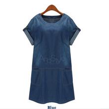 2016 Denim Dress Plus Size XL-5XL Women Clothes Summer Style Round Collar Short Sleeves Pocket Loose Cowboy Dress  Dresses Q112(China (Mainland))