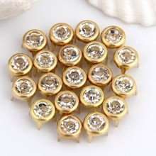 """100pcs Gold Plated 0.3"""" Round Crystal Studs Spots Punk Nailheads Spikes for Shoes Bracelet bag rivet hot sale(China (Mainland))"""
