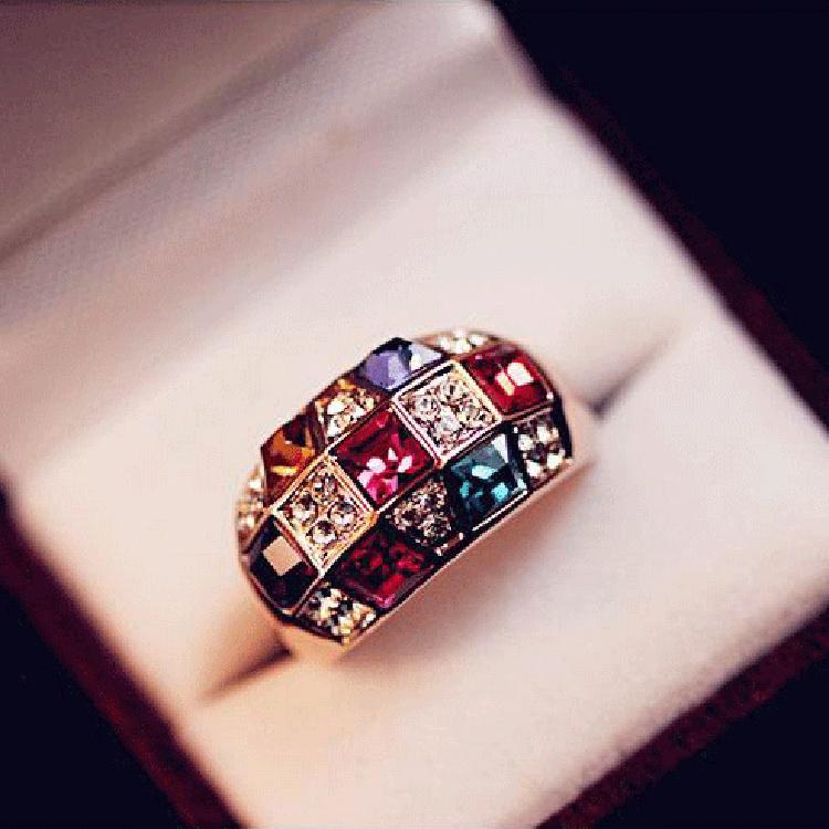 2015 NEW hot Fashion Shiny Plated Alloy Colorful Imitation Diamond Jewelry Rhinestone Big Engagement Finger Rings(China (Mainland))