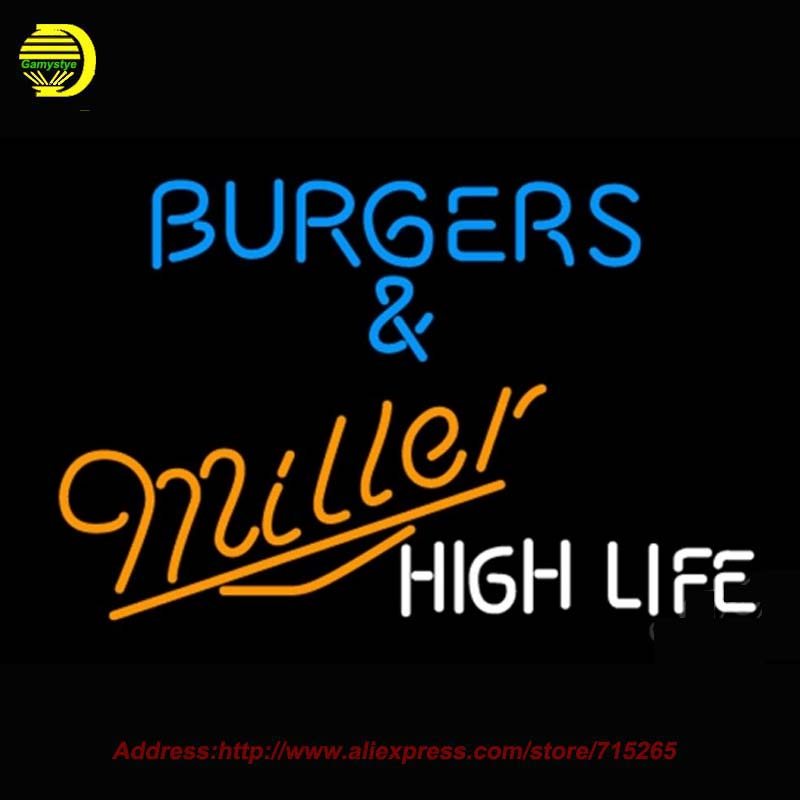 Miller Burgers High Life NEON SIGN Neon Bulb Handcrafted Recreation Room Glass Tube Affiche Window Light Metal Signs Art 37x24(China (Mainland))