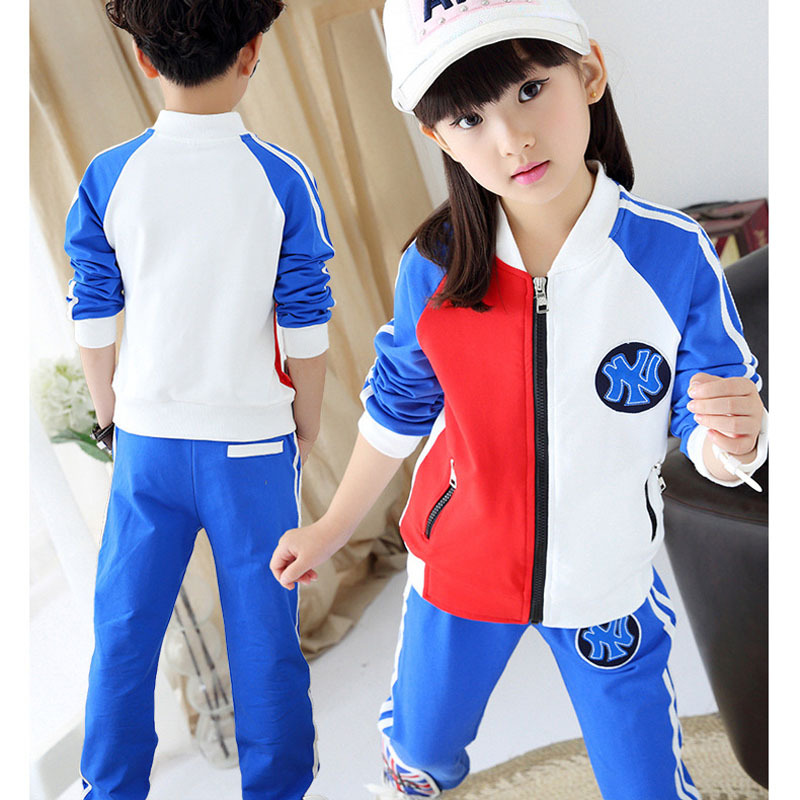 Фотография FLY KIDS wholesale children 2015 autumn kids clothing set boys girls sports suit spell color long-sleeved sets tracksuits FK373