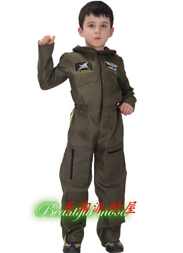 2015 High quality New Arrival Super Police Cosplay Costume for kids Cute Halloween Party Children Costumes Boy Fancy dress Pilot(China (Mainland))