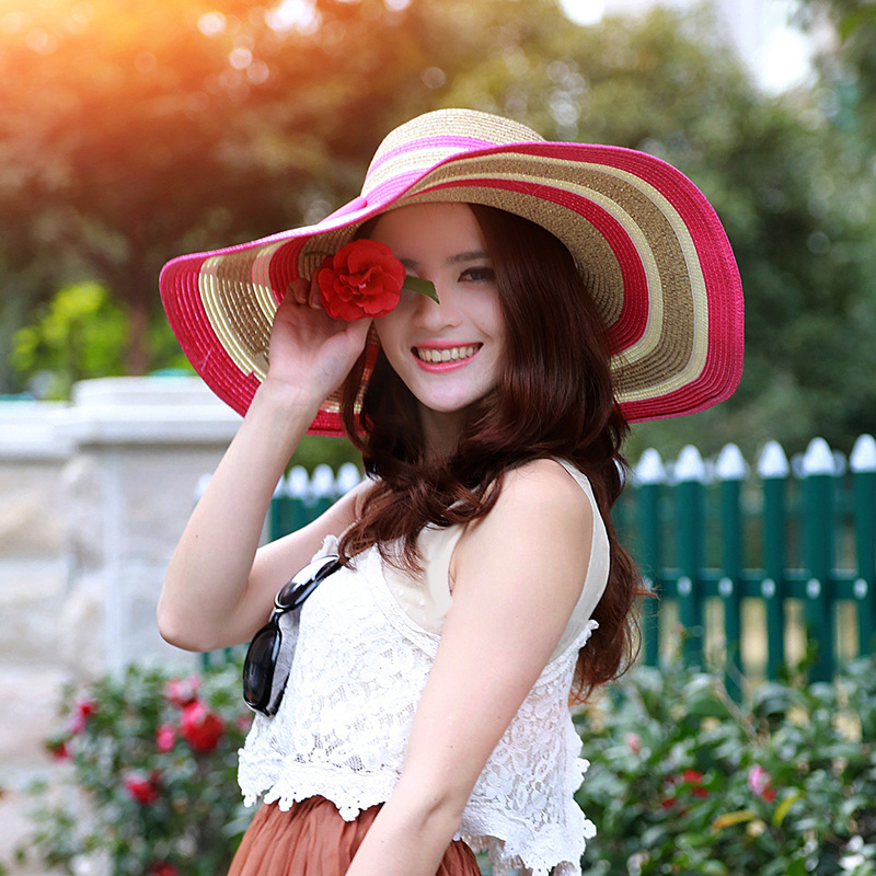 2015 High Quality Fashion More Color Stripe Sun Hat Vacation Casual Wide Brimmed Beach Hats Summer Hats For Women With Big Heads(China (Mainland))