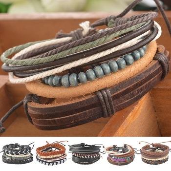 1 компл. 4 шт. плетеный регулируемый кожаный браслет панк ювелирные изделия манжеты ...