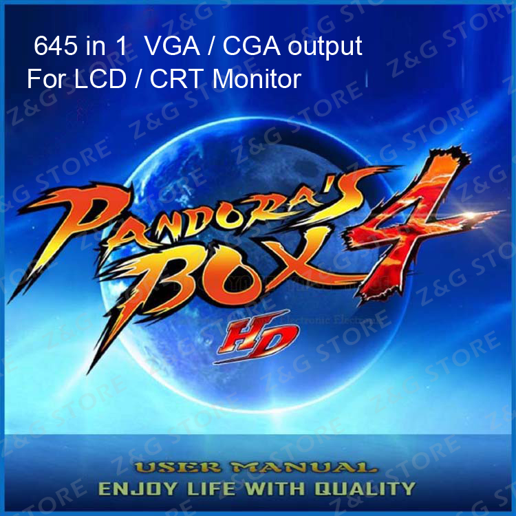 Z&amp;G 645 in 1 Pandoras box 4 VGA / CGA output for LCD / CRT jamma arcade cabinet machine game board 645 games multigame card<br><br>Aliexpress